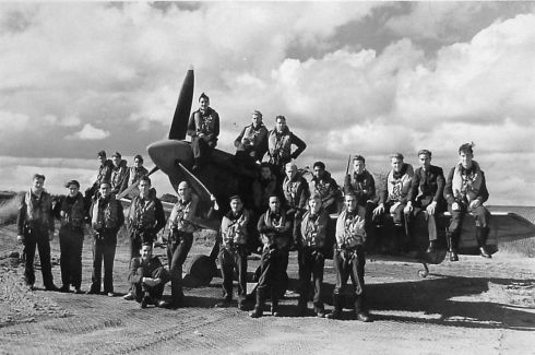 Pilots in front of a Spitfire*